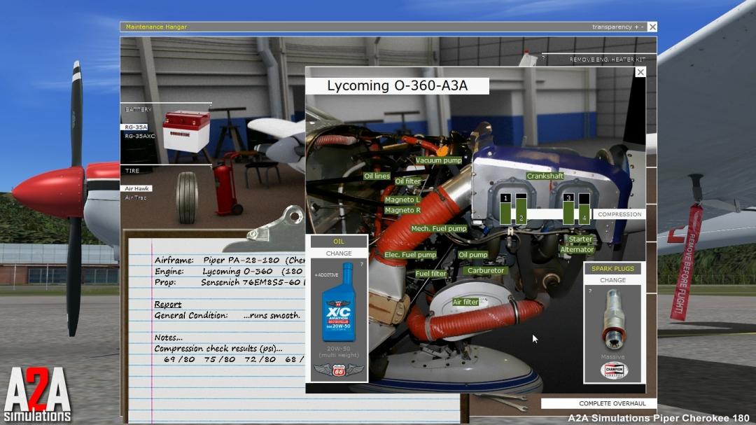 le Piper de A2A sim sur P3D/FSX; maintenance au sol.